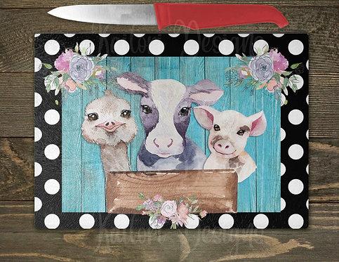 Farm Friends Glass Cutting Board 8x11