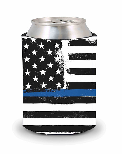 Blue Line American Flag Can Cooler- Grunge Style