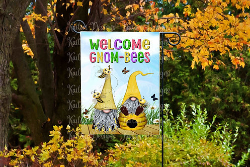 Welcome Gnom-Bees Garden Flag Sublimation Design