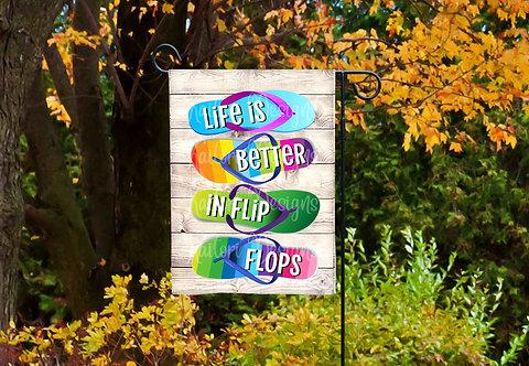 Live Is Better In Flip Flops Garden Flag Sublimation Design