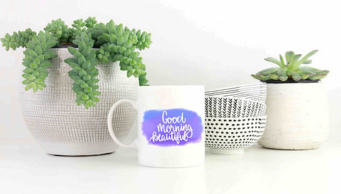 Good Morning Beautiful Watercolor 15oz Mug