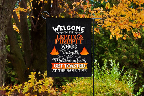 Personalized Name Firepit Garden Flag -12x18