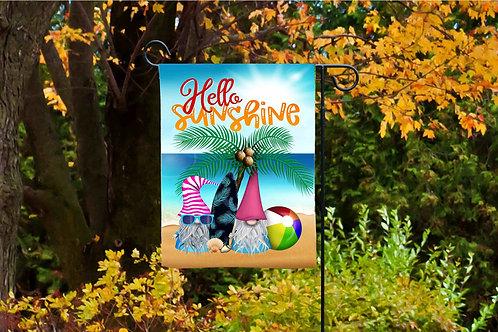 Hello Summer Beach Gnome Garden Flag Sublimation Design