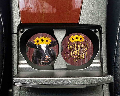 Happy Fall Y'All Cow with Sunflowers Car Coasters- Sandstone Car Coasters-Set