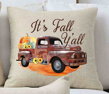 It's Fall Y'all Vintage Truck Pillow 18x18