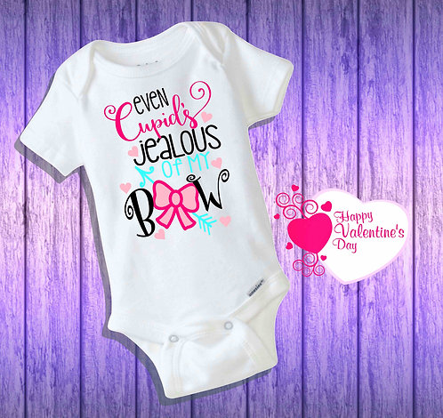 Even Cupid's Jealous Of My Bow Baby Bodysuit- Short Sleeve