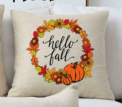 Hello Fall Wreath Pillow 18x18