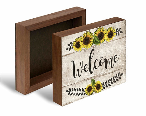 Sunflower Welcome Box Sign-10x8 Shelf Decor