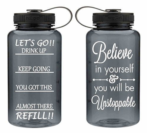 Inspiration Water Bottle- Workout Water Bottle-34oz Smoke Wide Mouth Water Bot