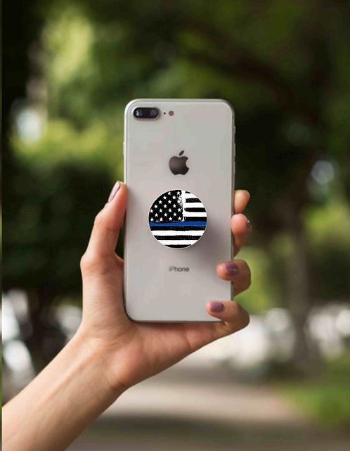 Blue Line Flag Cell Phone Grip with Dash Mount