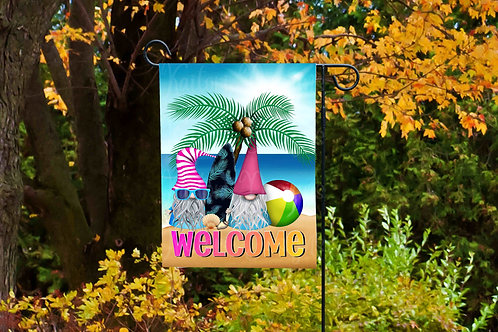 Hello Summer Beach Gnomes Garden Flag- 11x18