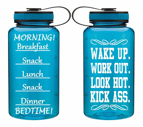 Inspiration Water Bottle- Workout Water Bottle-34oz Aqua Wide Mouth Water Bottle