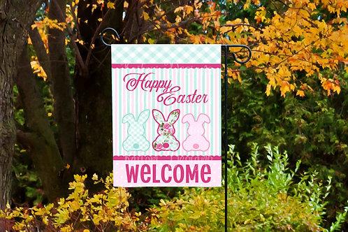 Happy Easter Bunnies Welcome Garden Flag- 11x18