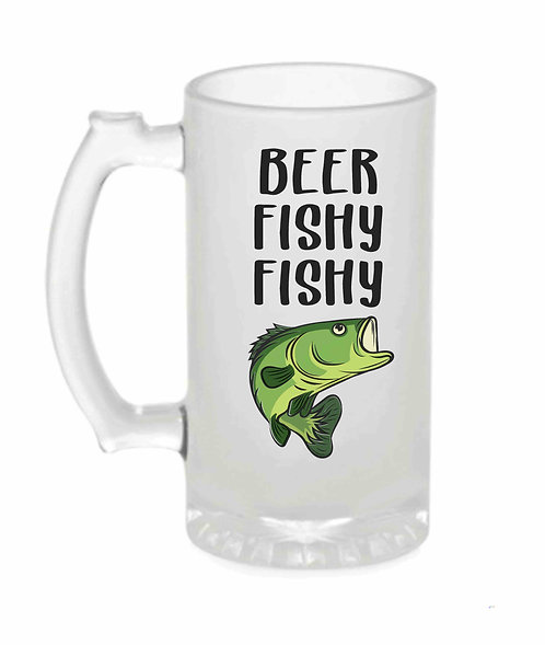 Fishy Fishy Ceramic 16oz Frosted Beer Stein