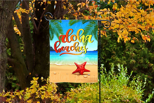 Aloha Beaches Garden Flag Sublimation Design