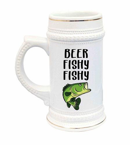 Beer Fishy Fishy Ceramic Beer Stein-22oz