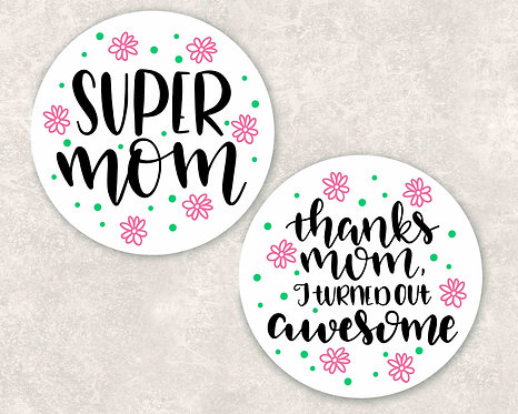 Super Mom/Thanks Mom Car Coasters- Sandstone Car Coasters-Set of 2