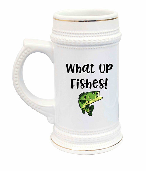 What Up Fishes Ceramic Beer Stein-22oz