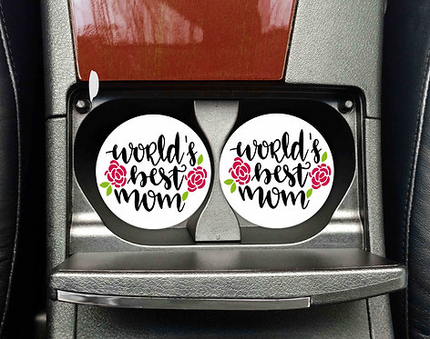 World's Best Mom Car Coasters- Sandstone Car Coasters-Set of 2
