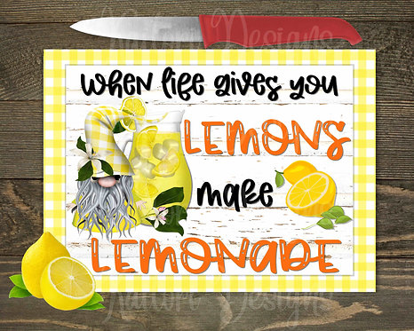 When Life Gives You Lemons Gnome Glass Cutting Board 8x11
