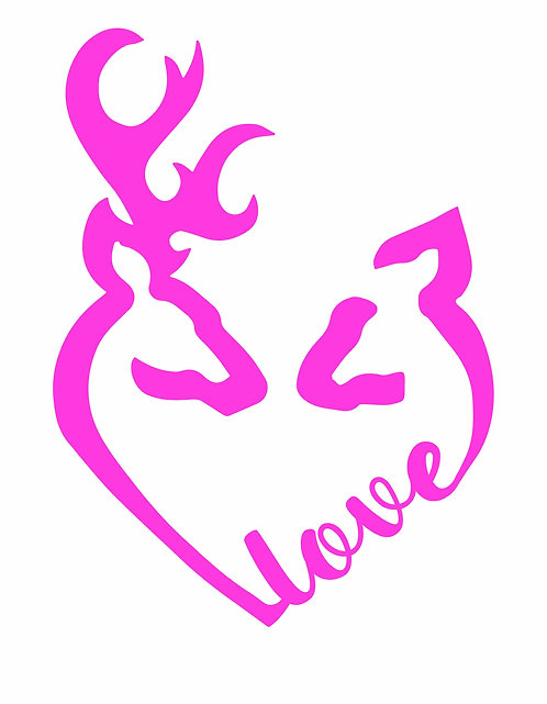 Browning Style Buck and Doe Love Decal- Car Decal