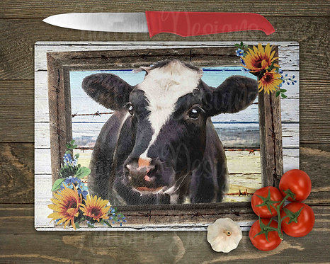 Cow in Frame Glass Cutting Board 8x11