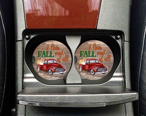 I Love Fall Most Of All Car Coasters- Sandstone Car Coaste