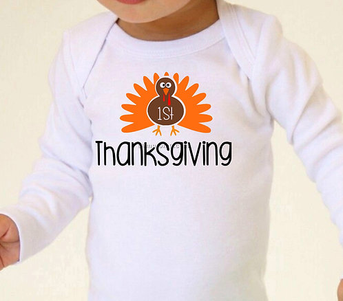 1st Thanksgiving Turkey Baby Bodysuit- Baby Thanksgiving Outfit