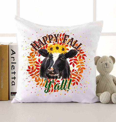Happy Fall Y'all Cow Pillow  18x18