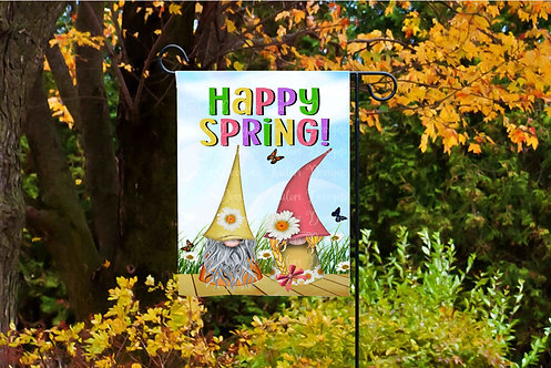 Hello Spring Gnome Garden Flag Sublimation Design