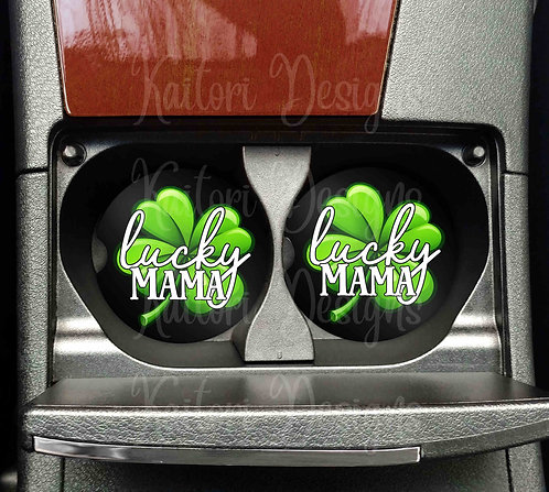 Lucky Mama Car Coasters- Sandstone Car Coasters- Set of 2