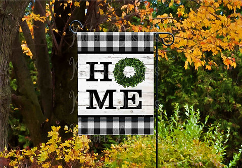 Home Boxwood Wreath Garden Flag Sublimation Design