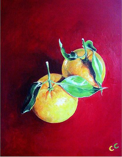 Oranges on Red