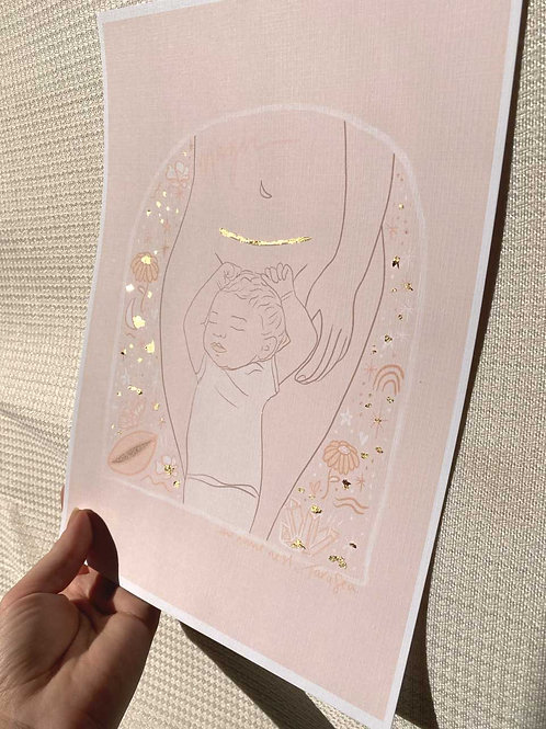 magic line - limited edition gold A4 printed artwork