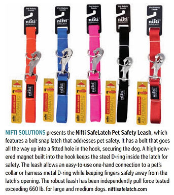 Nifti SafeLatch Pet Safety Leash in Pet Product News January 2021