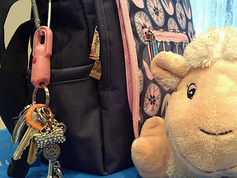 Pink Key Wonder Magnetic Quick Release Keychain on Diaper Bag