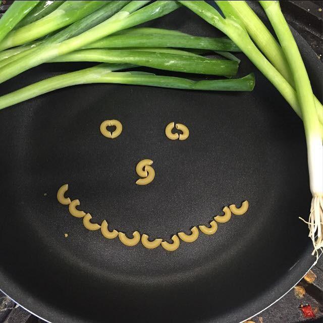 Macaroni noodles smiley face