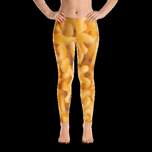 Women's Mac 'N Cheese Leggings - Mac and Cheese Leggings Halloween - Macaroni and Cheese Leggings Halloween