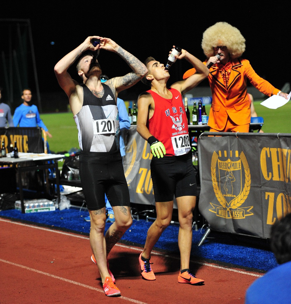 Chris Robertson and Dale Clutterbuck Beer Mile World Classic 2017 London