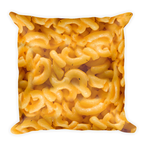 Mac 'N Cheese Decorative Pillow - Macaroni & Cheese Pillow - Large Square Mac and Cheese Pillow