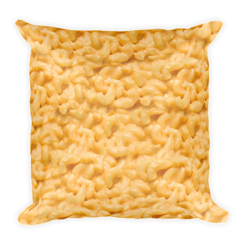Gooey Mac 'N Cheese Pillow - Macaroni & Cheese Pillow - Large Square Mac and Cheese Pillow