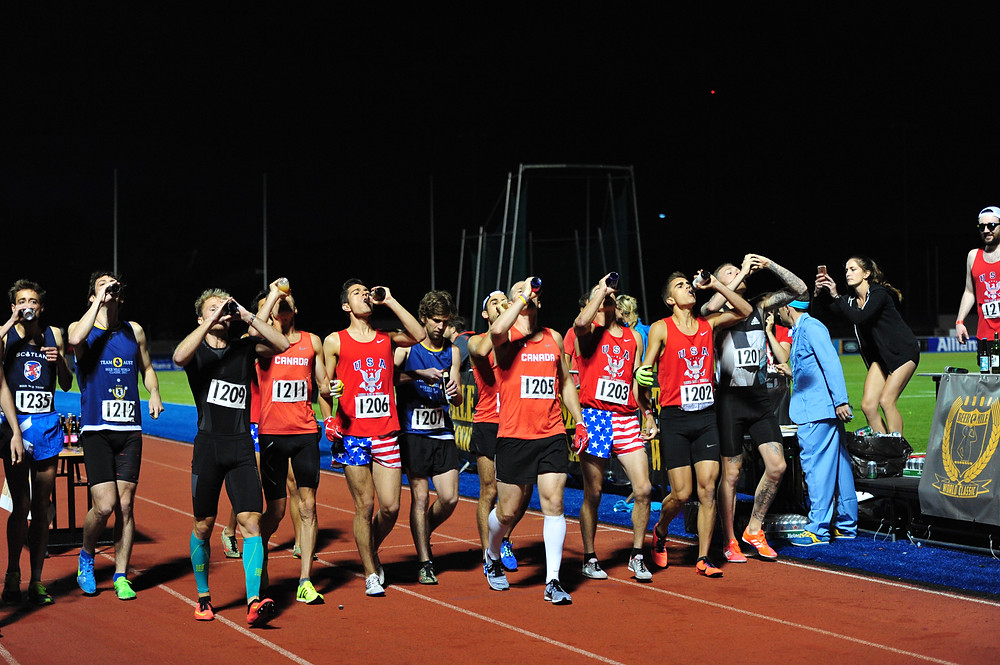 Start of the 2017 Beer Mile World Classic at Allianz Park in London, UK