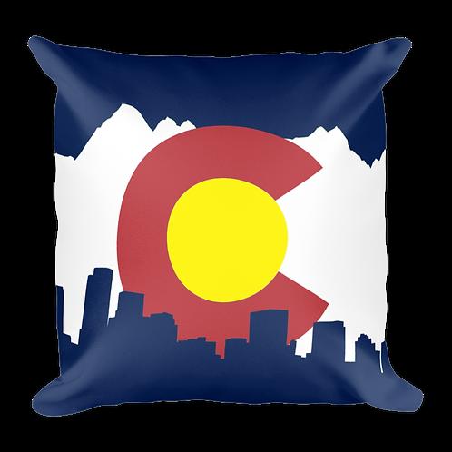 Denver Skyline Colorado Flag Pillow - Large Denver Skyline and Colorado Flag Pillow
