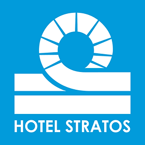 Hotel Stratos Logo Stacked CMYK White Bl