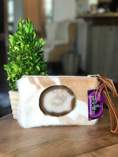 Cowhide Wristlet with Agate Slice