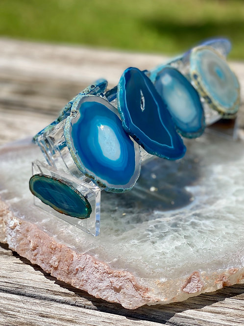 Agate Napkin Ring Set of 8 with holder