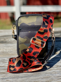 Camo cell with orange strap