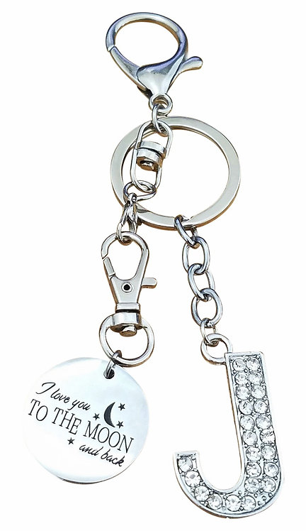 I love you to the moon and back Rhinestone Letter J Key-chain