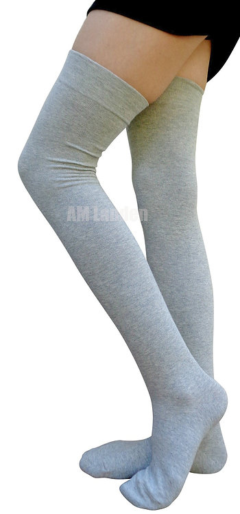 AM Landen Cotton Thigh-Highs Socks(L.Gray)Size 6-8