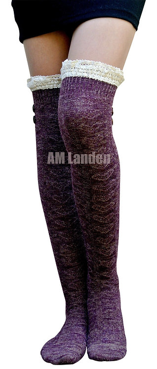 Over-Knee High Double Lace Wool Knit Socks(Purple)